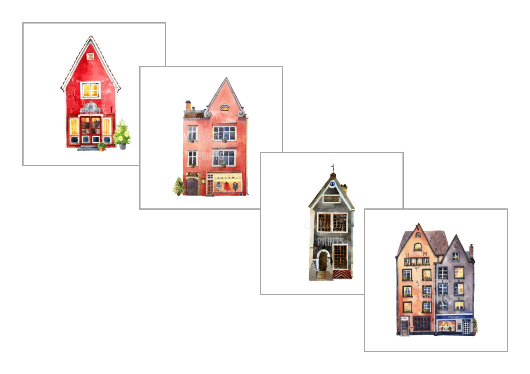 A4 Prints - Set of 4 Shops Collection